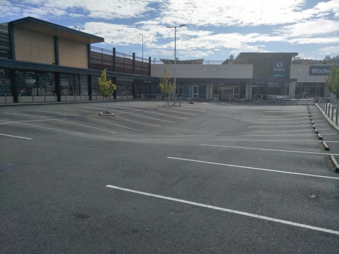 A sinkhole appeared in the Stockland Shopping Centre carpark overnight. Photos courtesy of Matt Whitfield.
