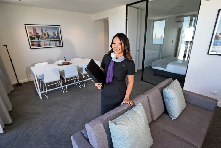 Quest South Perth Foreshore property manager Annabell Javinez, inside one of the rooms of the new hotel. Picture: David Baylis
