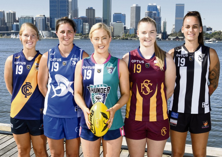 Peel Thunder player Georgia Perry (front) with other team representatives in the Optus WAFLW competition.