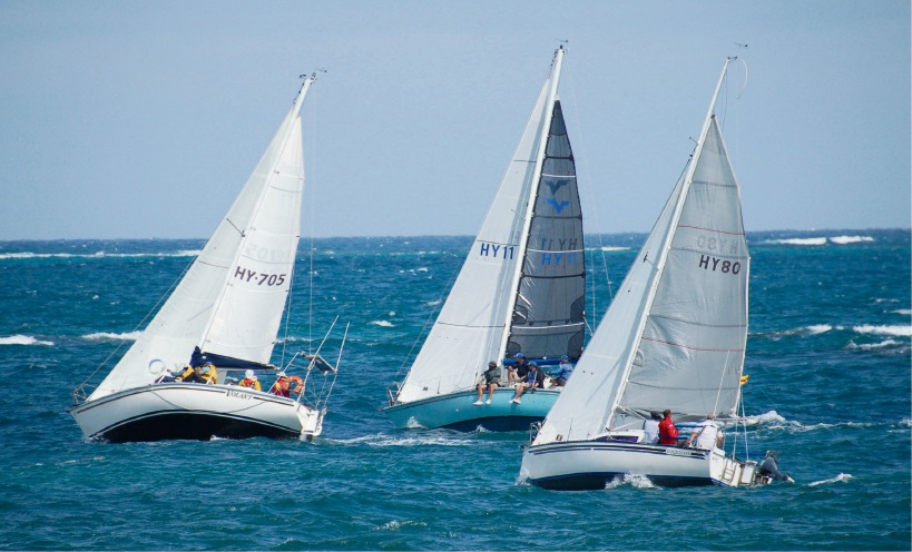 Volant, Helga and Quicksilver beat into strong winds after the division two start.