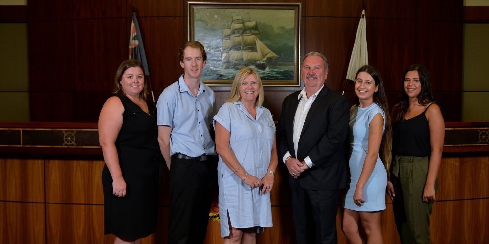 Mayor Barry Sammels and Deputy Mayor Deb Hamblin with round one scholarship recipients Marie Gilchrist, Mathew Remaj, Shadah Orfinejad and Judith Paredes-Sanchez. Picture: City of Rockingham