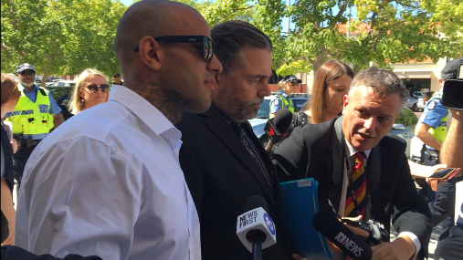 Mark Bhatti leaves court under questioning from the media. Picture: J Bianchini