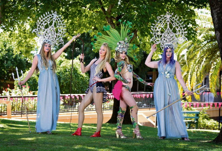 Amelia Lassetter (WonderRealm Water Goddesses), Sarah Green (Kaleido Company - Vaudevillage), Monique Vaughan (Rio Vida - Brazilian Samba Dancers) and Jessica Bell (WonderRealm Water Goddesses). Picture: David Baylis d490593