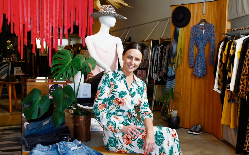 Designer and shop owner Amy Beeck in her Cottesloe store ACO, wearing her own design Picture: Marie Nirme www.communitypix.com.au   d490284