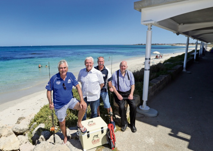Marmion Angling and Aquatic Club vice-president Peter McHugh, club manager Robert Weir and past captain Terry Couldridge with Mal Atwell from the Mal Atwell Indoor Leisure Group. Picture: Martin Kennealey www.communitypix.com.au d490180
