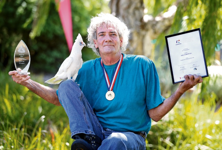 Joel Cornwell (aka Birdman) with his bird Dancer (25). Joel won the Community Citizen of the Year award at the recent City of Gosnells Community Citizen of the Year Awards. Picture: David Baylis. d490553