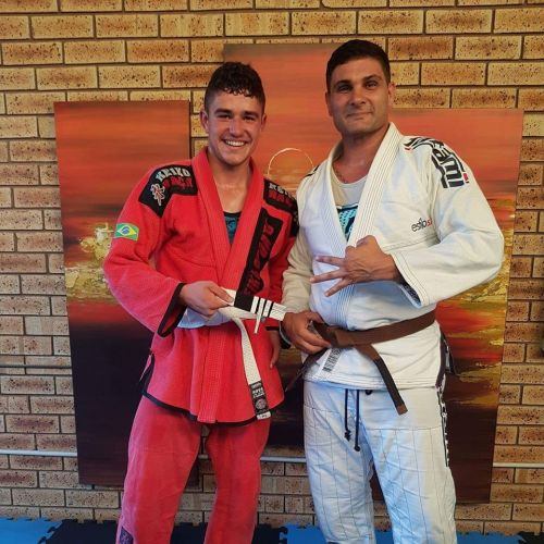 James Waughman (left) and Aliados Brazilian Jiu-Jitsu coach Carlos Coelho. Picture: Facebook