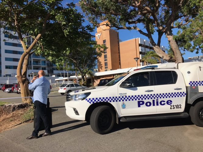 Police at Indian Ocean Hotel in Scarborough yesterday morning where a man was found unconscious with serious injuries.  Picture: Martin Kennealey