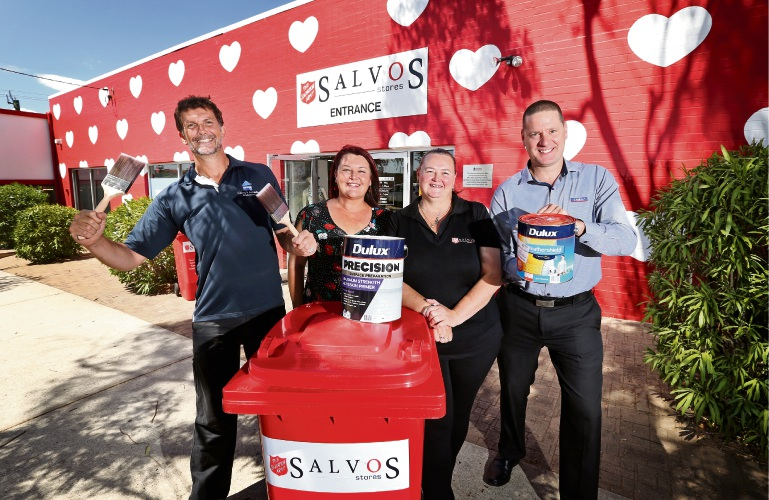 L-R: Stephen Delaney (Painting Trainer, MPA Skills), Cr Catherine Ehrhardt (City of Bayswater), Alex Stone (Store Manager, Salvos Store Maylands) and Ted Bucknell (State Manager, Dulux Trade).  The Salvos Store in Maylands has had a new paint job. Picture: David Baylis www.communitypix.com.au   d490654