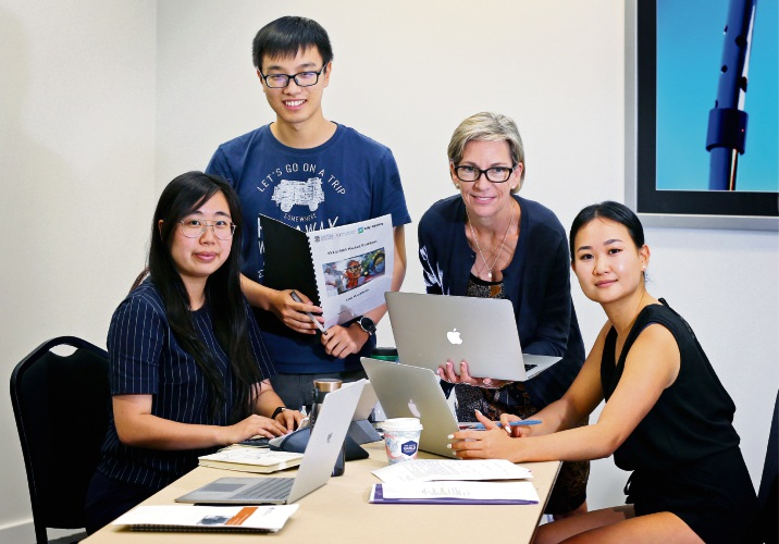 UWA Barriers to Employment project group members L-R: Amanda Lee, Albert Xie, Ellen Allen and Esther Kim. 20 UWA students are working with the City of Stirling and other government, not-for-profit and business organisations in the Mirrabooka region to come up with solutions for high unemployment in the area. Picture: David Baylis www.communitypix.com.au d490610