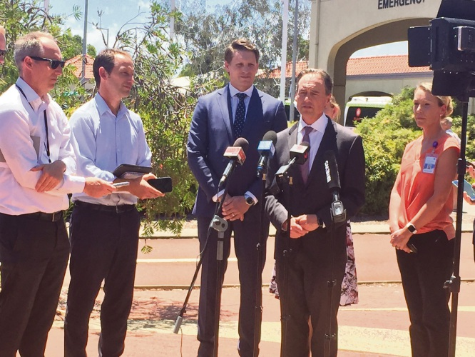 Federal Minister Greg Hunt and Canning MHR Andrew Hastie announce funding for Peel Health Campus.