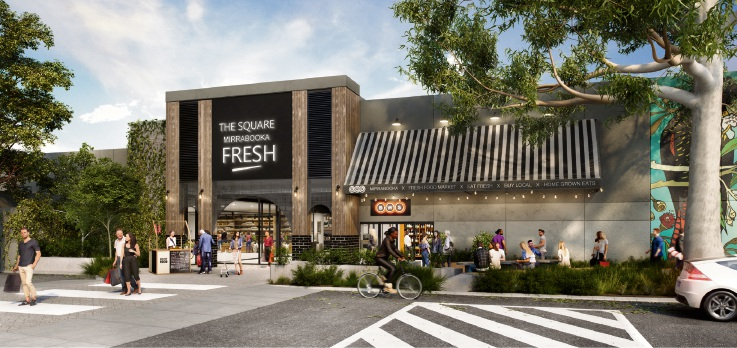 An artist impression of the new façade at entry five at The Square Mirrabooka.