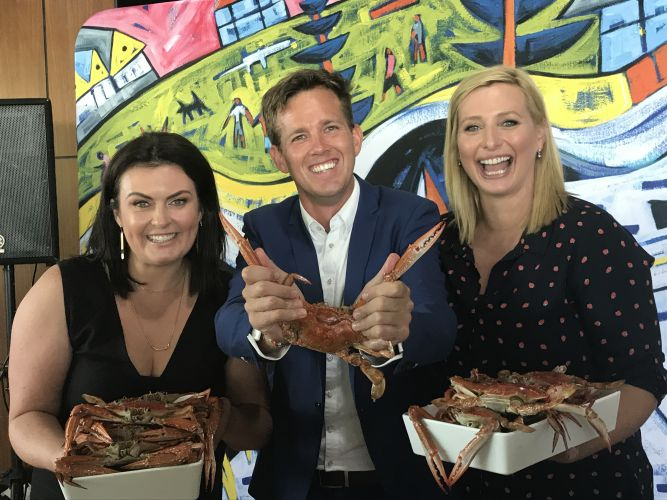 Better Homes and Gardens presenters Johanna Griggs and Karen Martini with Mandurah Mayor Rhys Williams at the Crab Fest launch yesterday.