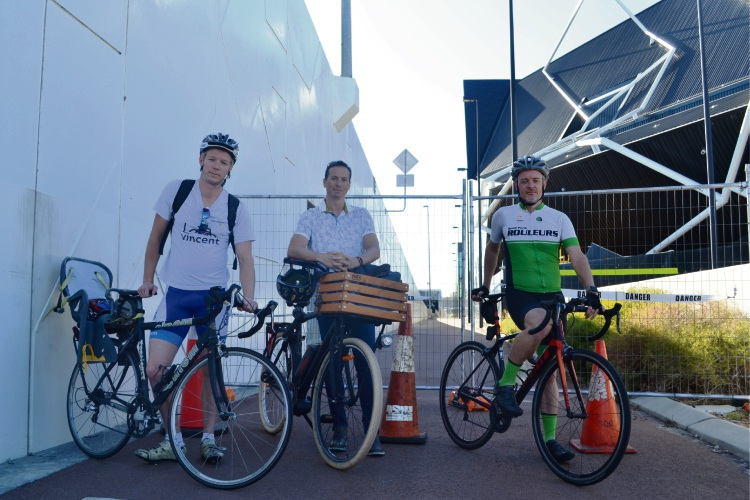 Dan Loden (Mt Hawthorn), James Nelson (Wembley), Jordan Brock (Wembley). Hundreds of cyclists have signed a petition to reopen the path behind RAC Arena. Picture: Jessica Warriner.