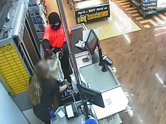 CCTV footage of the bandit.