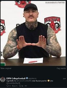 The ESPN College Football tweet announcing Louis Hedley's signing to the University of Miami Hurricanes.