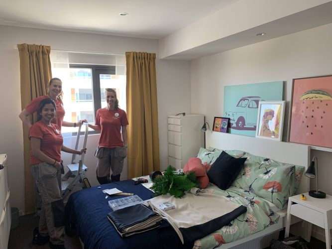 The Ikea team finish the fitout of a one-bedroom apartment in Rivervale.