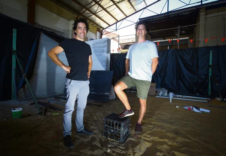 Architect Ben Braham with Mane Liquor Elliot Moore Picture: Matt Jelonek www.communitypix.com.au d490548a