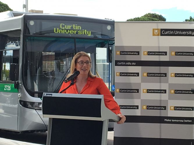 Transport Minister Rita Saffioti opening the new station.
