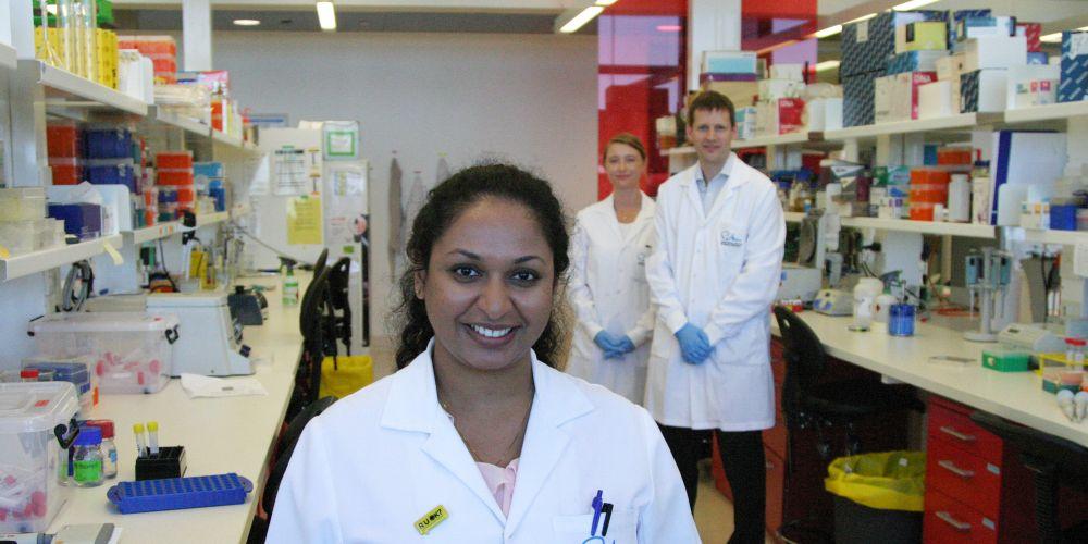 Rekhati Abhayawardana with fellow researchers Kevin Pfleger and Elizabeth Johnstone.