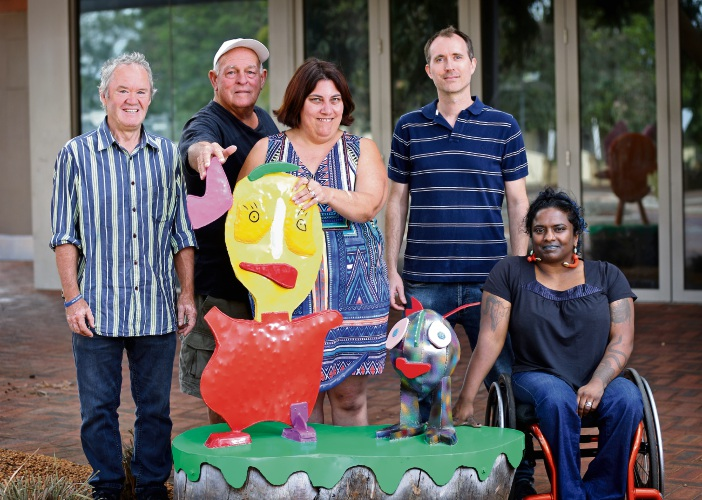 L-R: Peter Dailey (Artist), David White (Mandy's Dad), Mandy White (Artist), Peter Zylstra (Program and Development Coordinator, DAADA) and Mallika Mcleod (Manager Participation, Arts and Health, DAADA). Photo: David Baylis