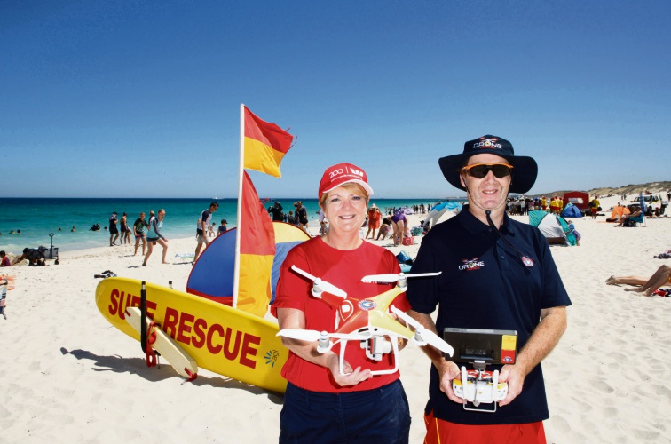 Westpac Northlands Plaza bank manager Sue Carter with drone pilot Gordon McCabe. Picture: Trevor Collens
