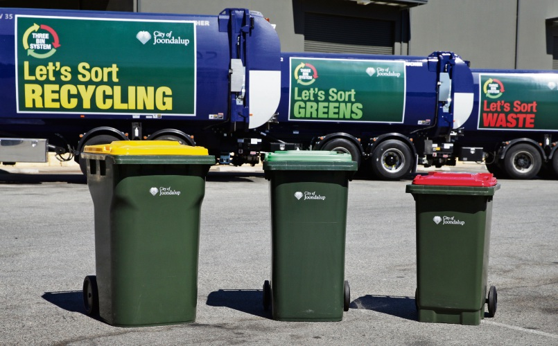 The City of Joondalup is currently rolling out its three-bin system for green waste only. Picture: Martin Kennealey