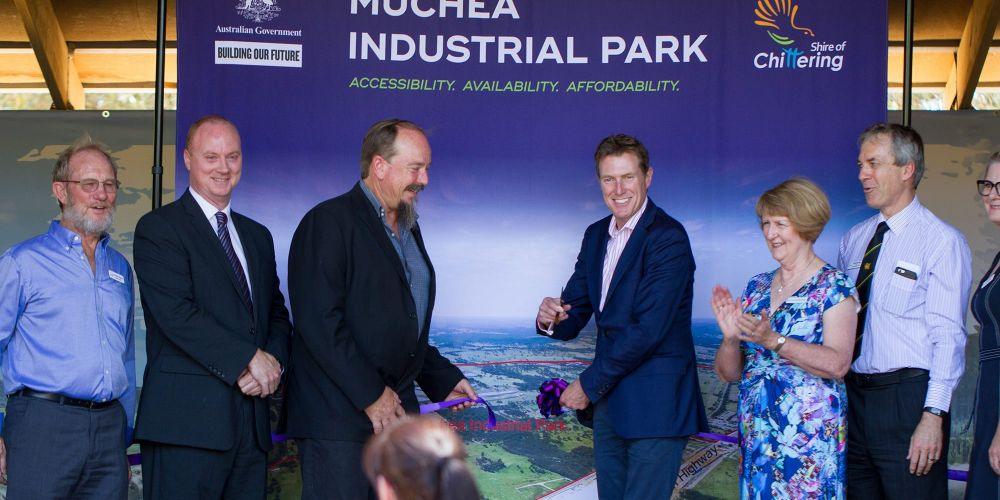 Shire of Chittering Deputy President Peter Osborn, Councillor George Tilbury, President Gordon Houston, Pearce MHR Christian Porter, Cr Carmel Ross, acting chief executive Neil Hartley and special projects manager Lisa Edwards at the Muchea Industrial Park investment prospectus launch.