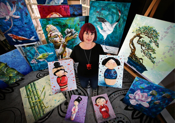 Artist Michelle Gilks of Canning Vale, getting her work ready for the Now and Zen exhibition. Picture: David Baylis