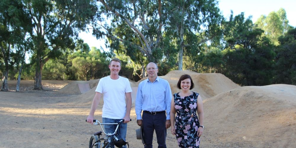 BMX rider Lewis Shugar with Midland Guildford ward councillors Ian Johnson and Claire Scanlan.