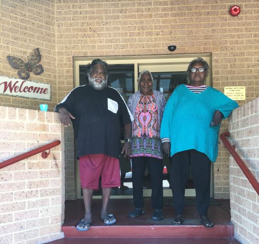 DYHS Autumn Centre clients Ian Gore, Barbara Sturt and Deloras Dingo.