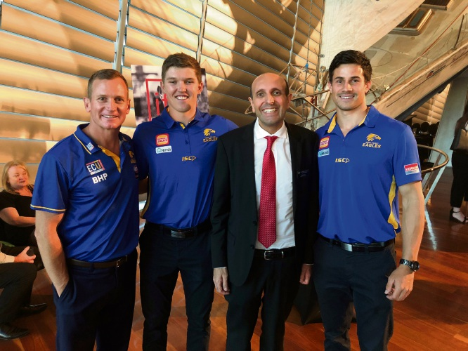 West Coast Eagles Luke Dwyer (AFLW Coach), Brayden Ainsworth, & Liam Duggan with Michael Piu (St Patrick's CEO & Chair Imagined Futures).