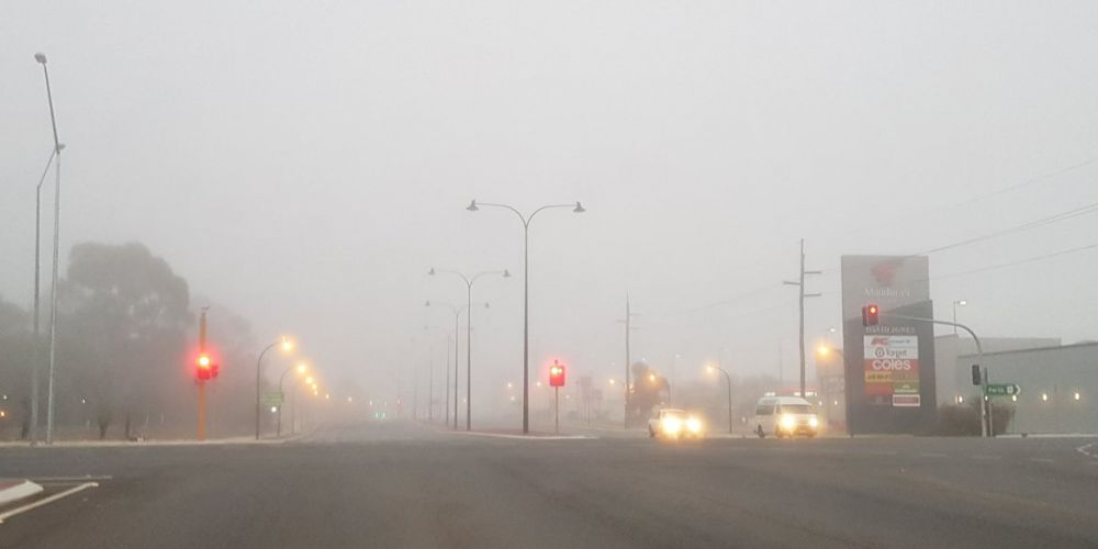 Fog in Perth's south. Photo: WA Police Traffic, Twitter.