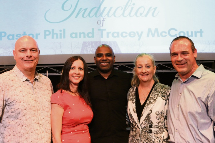 Pastors Phil and Tracey McCourt, Australian Christian Churches WA president Pastor Joel Chelliah, Wanneroo Mayor Tracey Roberts and Peter Roberts.