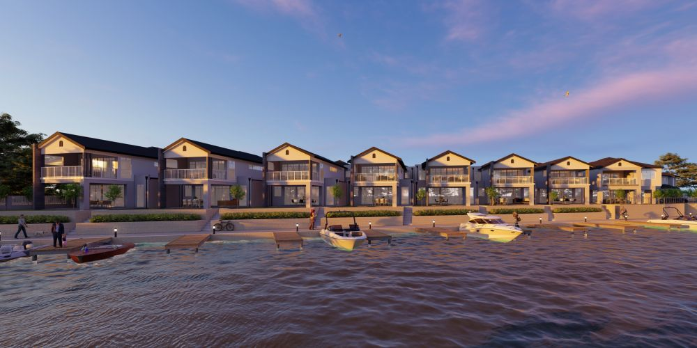 An artist's impression of Mariners Cove's Hamptons Edge development, which will feature waterfront homes with Hamptons styling and exclusive access to private boat moorings.