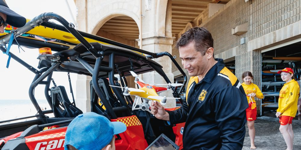 Surf Life Saving WA drone pilot Konrad Siedl with a Westpac drone at Cottesloe Beach last Saturday. Photo: Supplied