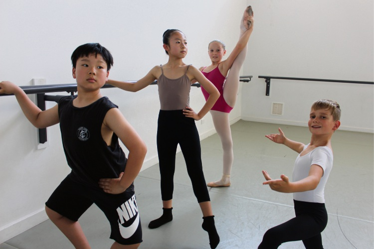 (L-R) Here Dance Studio students Owen Wen Bo Han (10) and Helen Jin Xia Quan (11) with Charlesworth Ballet College students Scarlett Simmons (11) and Jasper Mentlein (9).