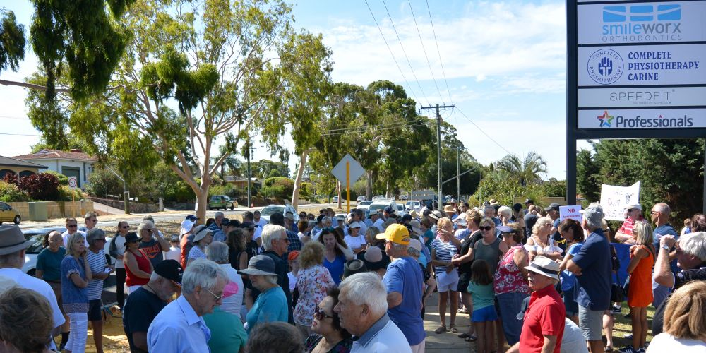 Residents attended an on-site community meeting to express concerns with a four-storey apartment building proposed for 9 and 11 Davallia Road, Duncraig.