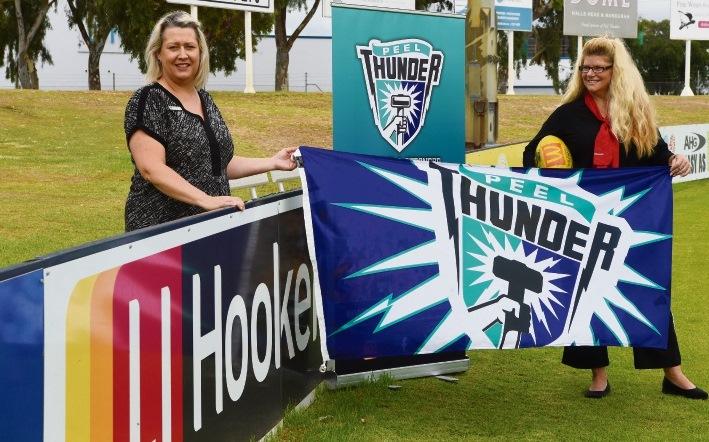 Paula Barnden (Peel Thunder) & Renee Hardman (LJ Hooker) Picture: Jon Hewson www.communitypix.com.au