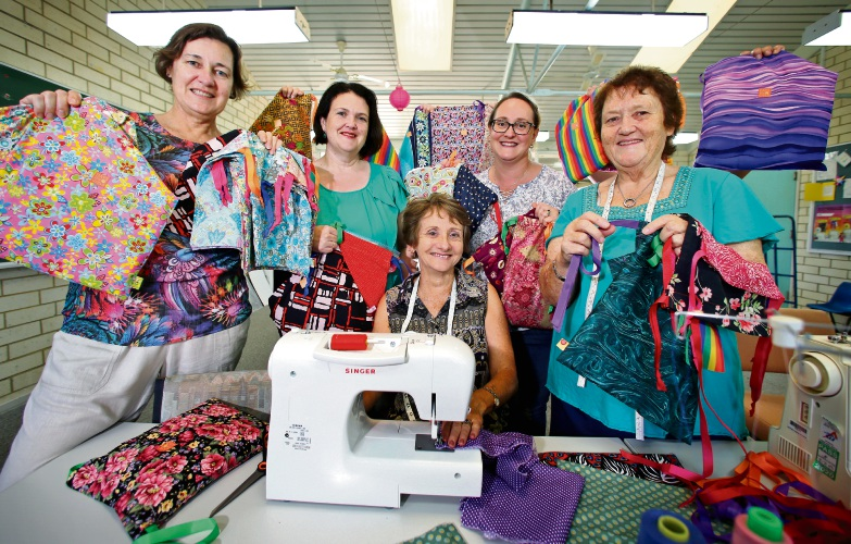 Making and packing Days for Girls kits at Woodlupine Primary School in Forrestfield. Picture: David Baylis d491012