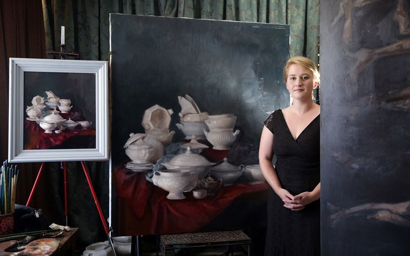 Sheridan McDonald with her still life titled Wedding portrait. Picture: Martin Kennealey d490990d