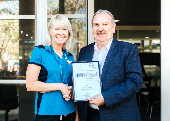 Aqua Jetty personal trainer Jodie Moore and City of Rockingham Mayor Barry Sammels.