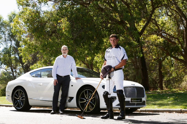 New Youth Focus CEO Arthur Papakotsias with a Bentley Continental GT Coupe 2019  and polo player Fernando Erreguerena ahead of this year's Polo in the Valley Picture: Andrew Ritchie www.communitypix.com.au   d490986