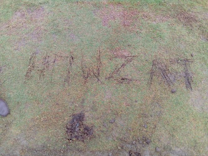 The word 'Howzat' scratched into the turf.