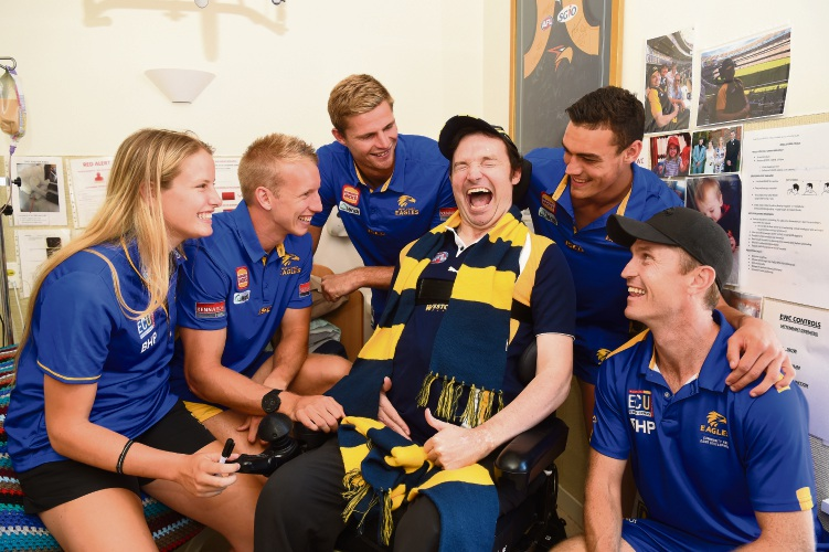 West Coast Eagles players make Brad's day at Brightwater Oats Street