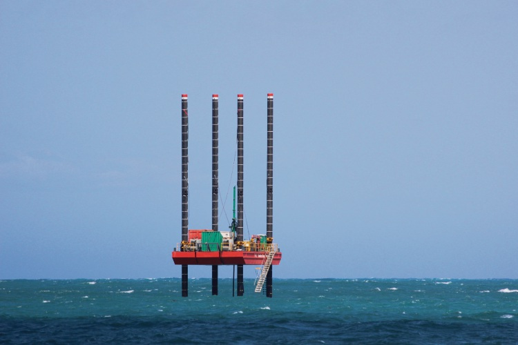 A drilling barge has been testing for a potential desalination plant off Alkimos since September.