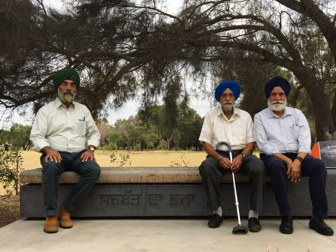 (L-R) Sikh Association of WA members Tarun Preet Singh, Parmjit Singh and Devraj Singh at the Sikh Heritage Trail in Riverton. Photo: Ben Smith