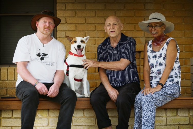 Milroy Lodge residents Jim Cameron, Mambo the dog, Gordon Bauman and Teresa McKenna, encouraging people to have Wills and consider leaving money to charitable organisations. Picture: Andrew Ritchie www.communitypix.com.au   d490973