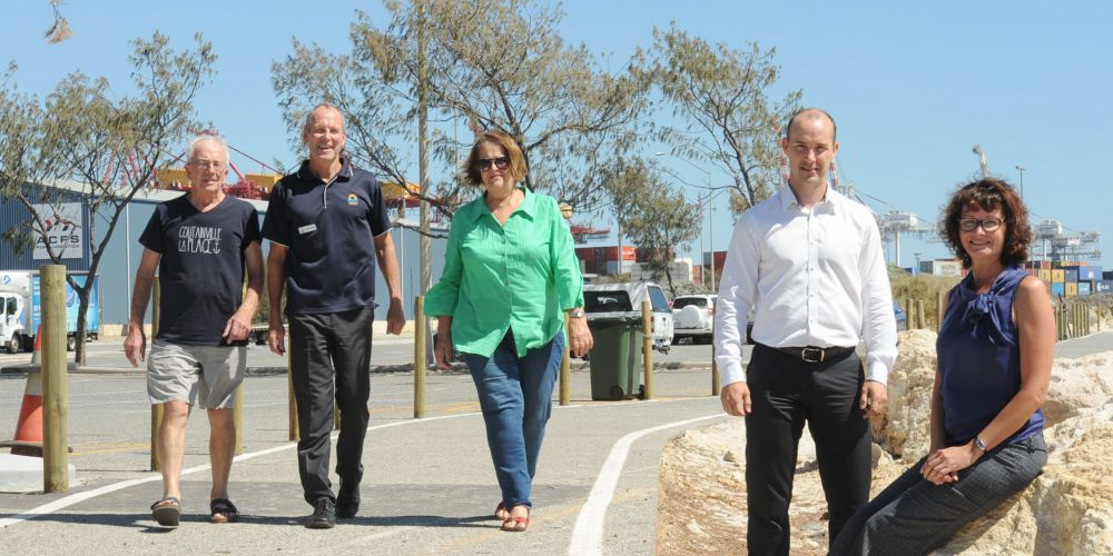 L-R: Community reference group members Sally Wearne, Mike Burke and Gerard McGill are among those helping the City of Fremantle's Katrina Sachse and MP Rogers and Associates' Clint Doak on solutions at Port and Sandtracks beaches.  Picture: Jon Bassett
