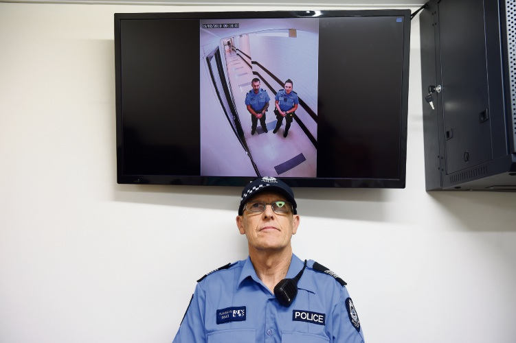 WA Police Acting Sergeant Stephen Flanagan at Kardinya Park Shopping Centre. Picture: Jon Hewson